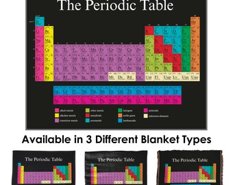 Chemistry bedding etsy periodic table throw blanket tapestry wall hanging standard multi color urtaz Choice Image
