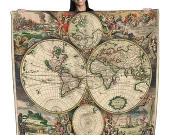 World map blanket etsy vintage world map 50 x 60 polar fleece throw blanket tapestry wall hanging gumiabroncs Images