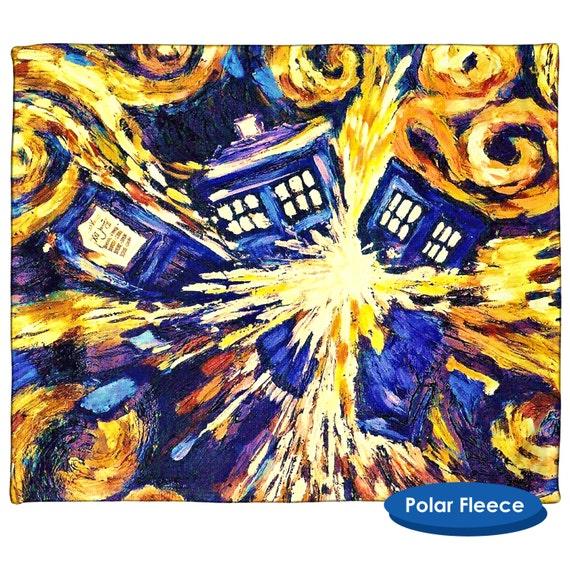 "Van Gogh Exploding TARDIS Throw 50/"" x 60/"" inches BBC"