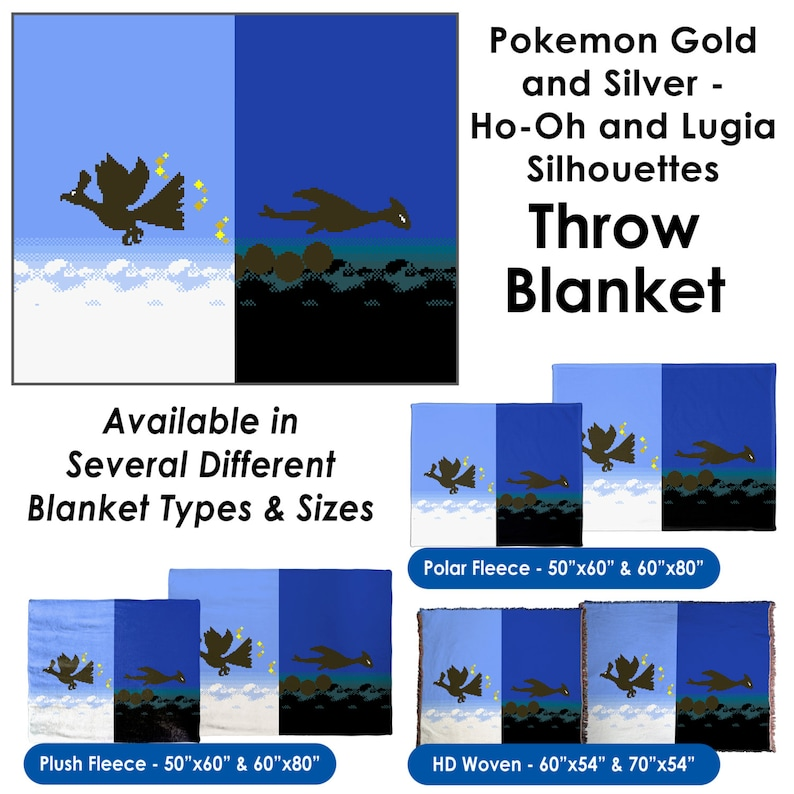 Pokemon Gold And Silver Ho Oh And Lugia Silhouettes Throw Etsy