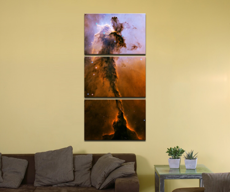 Stellar Spire in the Eagle Nebula - 24 x 48, 3-Piece Vertical Split ...