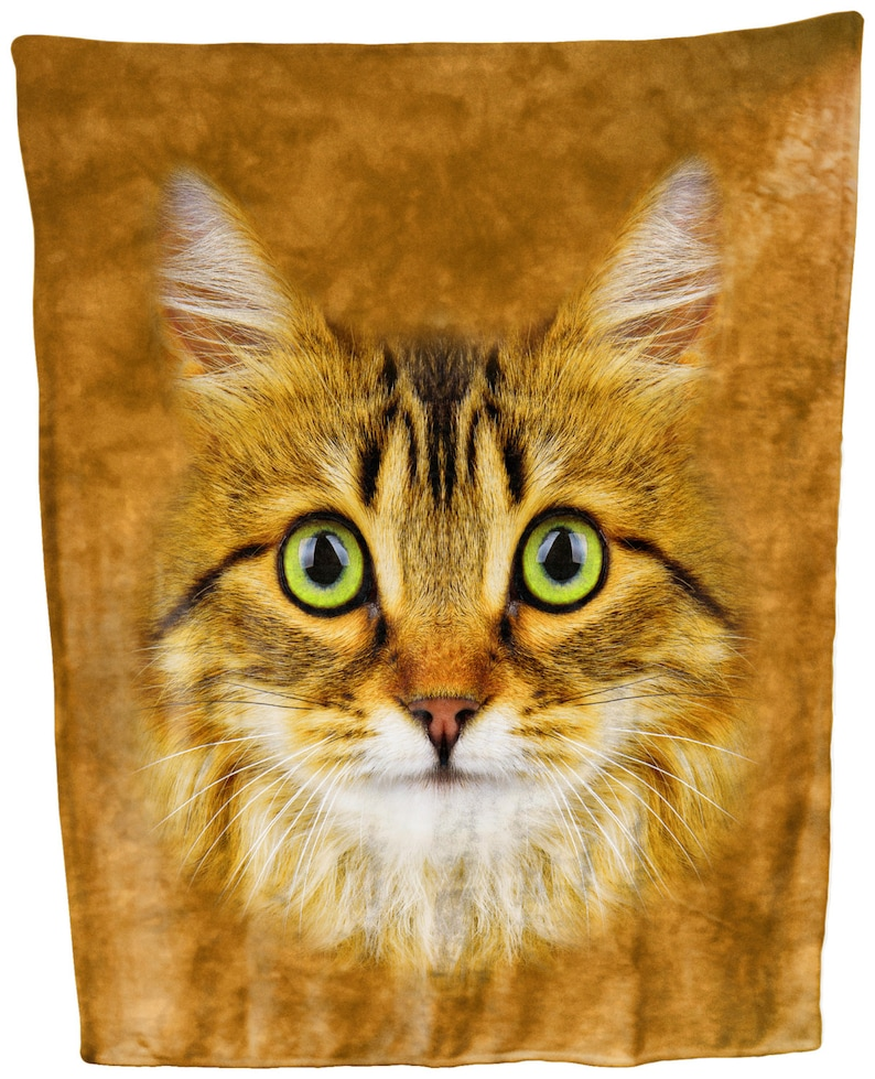 Longhaired Tabby Cat Face Throw Blanket  Tapestry Wall Hanging
