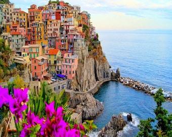 """Village Of Manarola, Cinque Terre, Italy. With Flowers. 24"""" x 24"""" Canvas Print"""