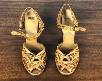 ce0f83228fc9b 1940s Burnt Caramel Mens Shoes Vintage 40s 'Hanover' | Etsy