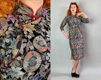3103eeb272b3 1930s Floral Silk Brocade Cheongsam | Vintage 30s Colorful Black & Gold  Chinese Symbol QiPao Dress with Lipstick Red Piping Trim | Small