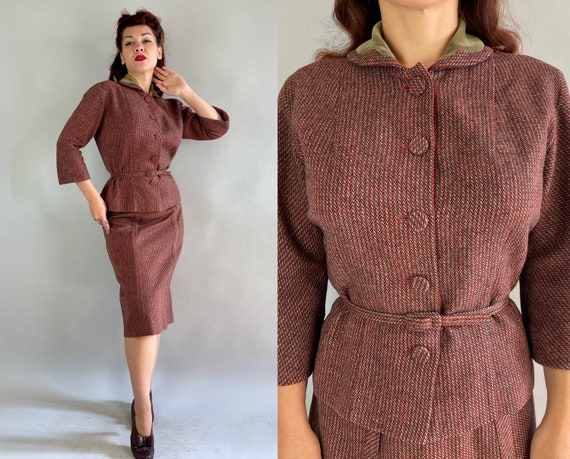 1950s Falling for Fall Suit | Vintage Early 50s Red Black and Grey Tweed Wool Jacket Skirt & Belt Set with Olive Velveteen Accent | Medium