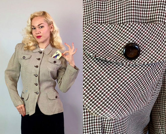 Vintage 1940s Womens Blazer | 40s Ladies Brown, Ivory and Red Houndstooth Plaid Jacket w/ Flap Pockets & Pearlescent Coffee Buttons | Medium