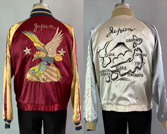 Early 1950s Sukajan | Vintage 50s Reversible Satin Japanese Souvenir Jacket in Red Gold White & Silver w/Embroidery Dated 1949 1950 | Large