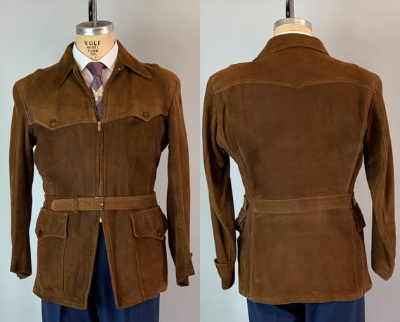 1930s Belted Back Outdoors Jacket | Vintage 30s Mens Chestnut Brown Suede Leather Sportswear w/Removable Belt & Hidden Chest Pocket! | Small