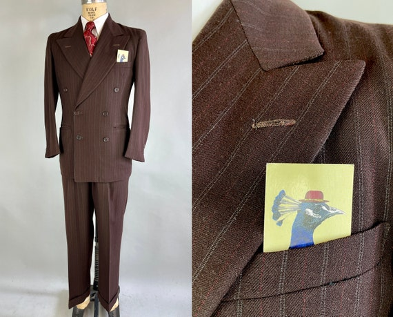 1930s Deliciously Dapper Suit   Vintage 30s Coffee Bean Brown Wool w/ White and Red Pinstripes Peak Lapel Jacket & Trousers   Size 38 Medium