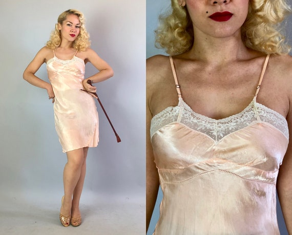 Vintage 1940s Slip | 40s Blush Pink Rayon Satin Bias Cut Full Dress Slip with White Lace Trim and Perforated Empire Waistline | Small