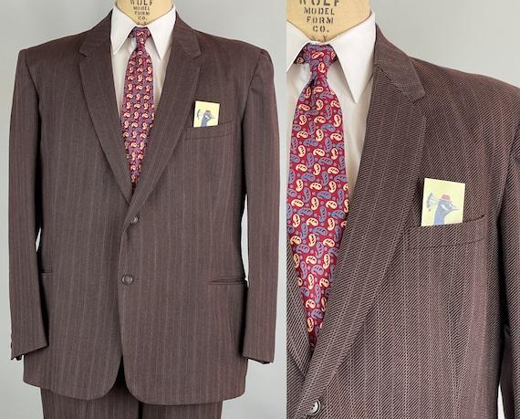 1940s Garnet Gentry Suit | Vintage 40s Brown and Pink Hued Striped Wool Single Breasted Jacket & Pants Set | Size 42 Large