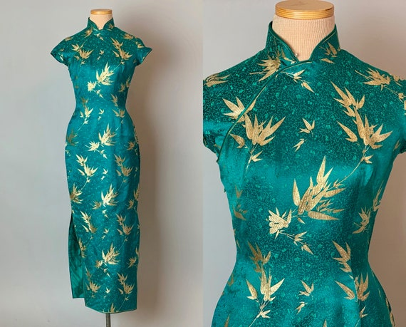 1950s Glamorous Teal & Gold Metallic Cheongsam | Vintage 50s Silk Brocade QiPao Traditional Chinese Evening Cocktail Dress  | XS Extra Small