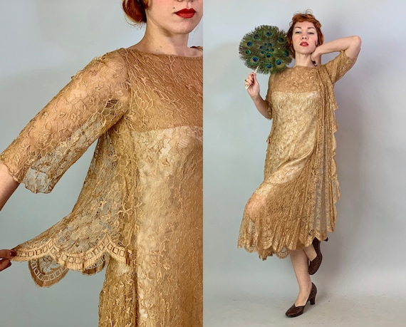 1920s Lovely in Lace Dress | Vintage 20s Caramel Beige Brown Sheer Floral Lace Flapper Frock with Elegant Draped Scallop Panels | Medium