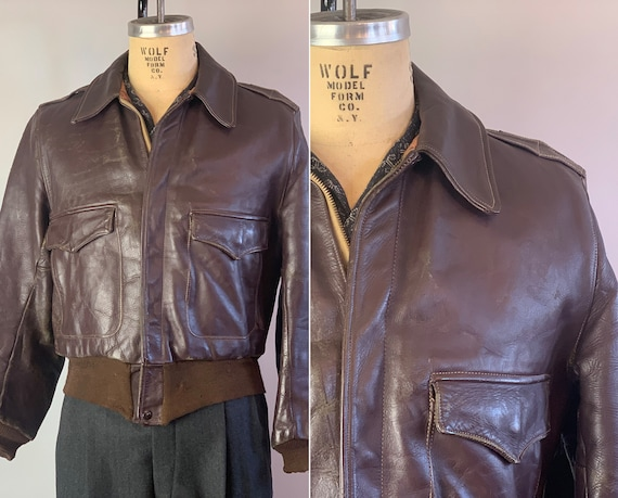 1940s Need for Speed Jacket | Vintage 40s Chocolate Brown Leather A2 Bomber Jacket with Double Side Pockets & Knit Accents | Medium Size 40