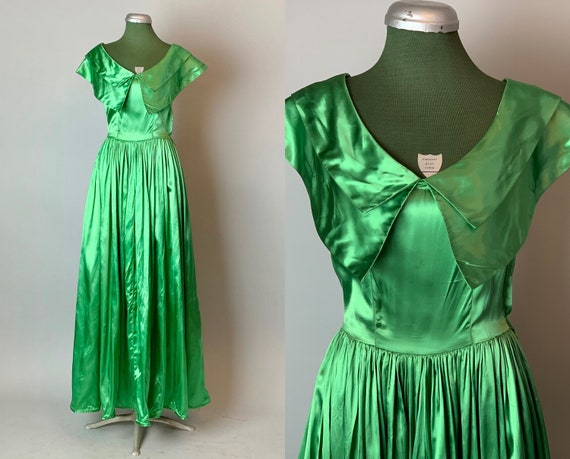1940s Emerald Evening Gown | Vintage 40s Silk Satin Plunging V-Neck Floor Length Evening Party Dress w/Gathered Full Skirt | XS Extra Small