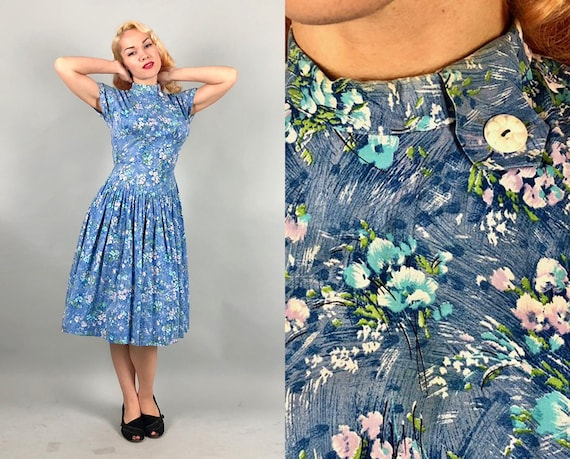 1940s Impressionist Floral Frock | Vintage 40s Light Periwinkle Blue Cotton Novelty Print Day Dress with Button Tab Collar Detail | Small