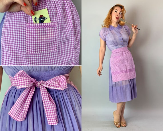 1950s Happy Homemaker Apron | Vintage 1950s Mid Century Housewife Purple and White Gingham Cotton Half Apron with Embroidery and Pocket