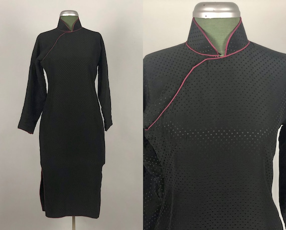 1950s Winter Cheongsam | Vintage 50s Black Silk Long Sleeve Unique Wool Insulated Qipoa Dress with Fuchsia Pink Piping | Extra Small XS