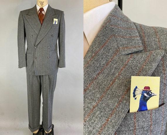 1940s Fascinating Fred Suit | Vintage 40s Stone Grey with Burnt Orange Pinstripes Wool Peak Lapel Jacket & Trousers | Size 40 Medium