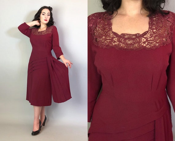 1940s Lacey Fatale Dress | Vintage 40s Wine Red/Purple Rayon Crepe Cocktail Dress w/Rhinestone Lace Yoke and Hip Sash Volup | Extra Large XL