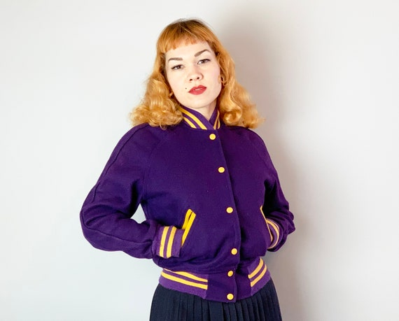 1940s Collegiate Cutie Lettermans Jacket | Vintage 40s Royal Purple and Goldenrod Yellow Wool School Sports Coat w/Maple Leaf Snaps | Small