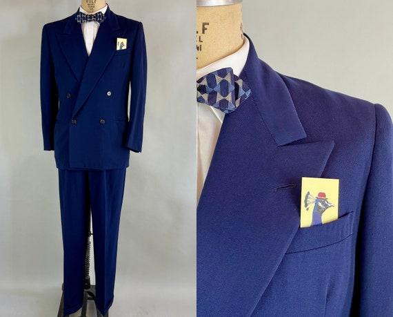 1940s Debonaire Don Two Piece Suit | Vintage 40s Royal Blue Wool Double Breasted Peak Lapel Jacket & Pleated Trousers Slacks |Size 40 Medium