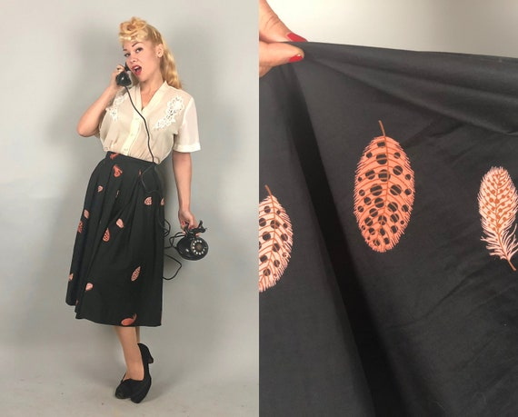 1950s  Novelty Print Skirt | Vintage 50s Amazing Feathered Friend Alice In Wonderland Pink & Black Cotton Box Pleated Skirt | Extra Small XS
