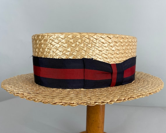 1920s Lazy Summer Day Boater | Vintage 20s Pressed Straw Hat with Blue and Red Stripe Grosgrain Ribbon Bow Trim | Size 7.5 Extra Large XL