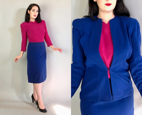 1940s Color Block Three Piece Suit | Vintage 40s Cobalt Blue Wool Skirt & Jacket w/Asymmetric Details and Fuchsia Rayon Crepe Blouse | Large