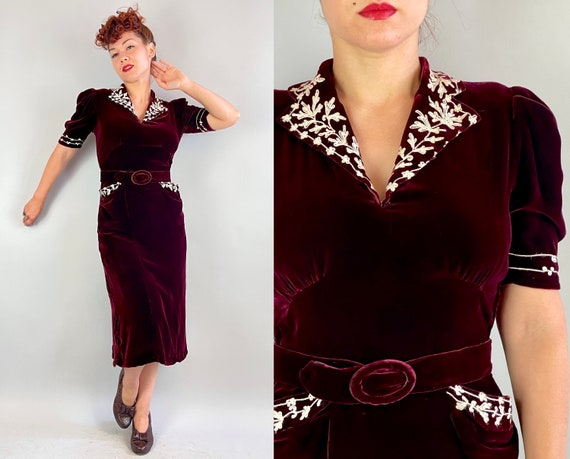 1930s Molly's Mulled Wine Dress | Vintage 30s Burgundy Red Silk Velvet Frock with Puff Sleeves White Flower Embroidery and Belt | Medium