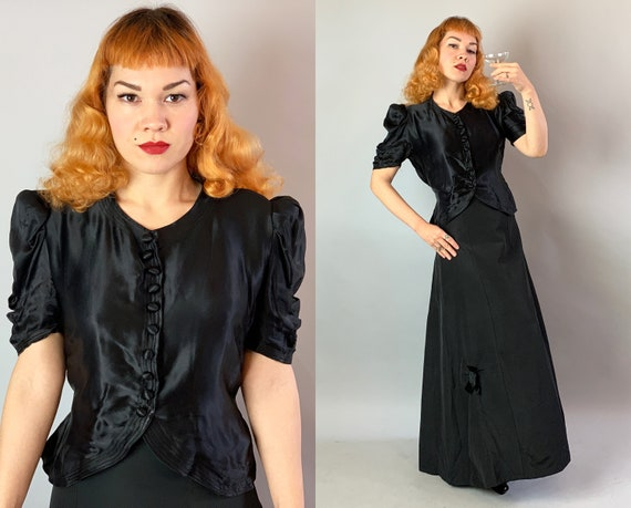 1930s Ravishingly Raven Evening Dress Set | Vintage 30s Black Rayon Satin Ruched Button Top and Silk Faille Floor Length Gown Skirt | Medium