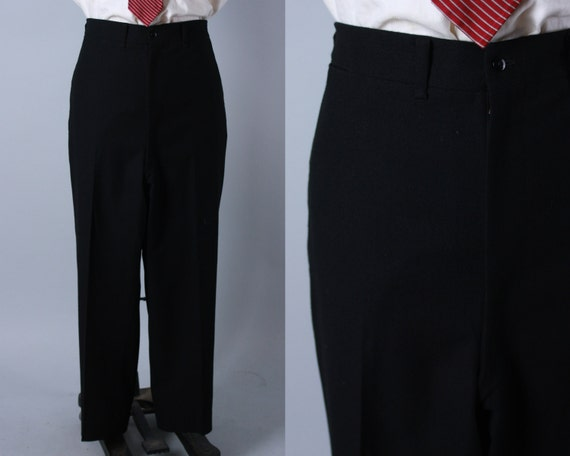 Vintage 1940s Tuxedo Trousers | 40s Black Wool Flat Front High Waist Tux Pants Slacks With Dropped Belt Loops | 42x29.5 Extra Large XL