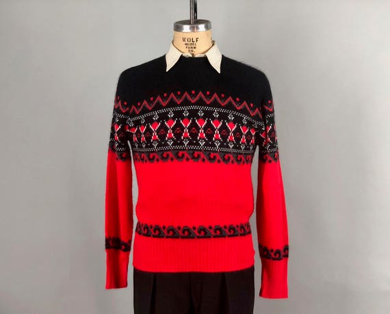 Vintage 1950s 1960s Mens Sweater 50s 60s Red Black White Etsy