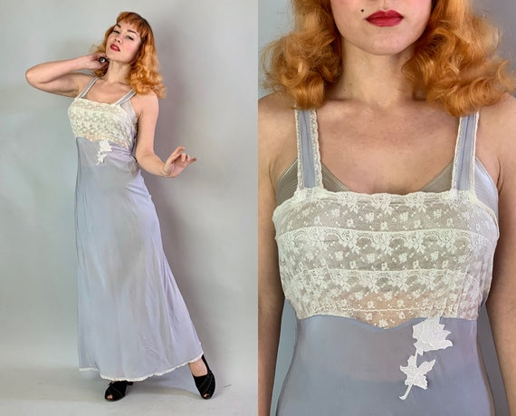 1940s Bedtime Betty Negligee | Vintage 40s Periwinkle Bias Cut Rayon Nightgown w/Risqué Sheer White Lace & Rose Appliqué |Small Medium Large