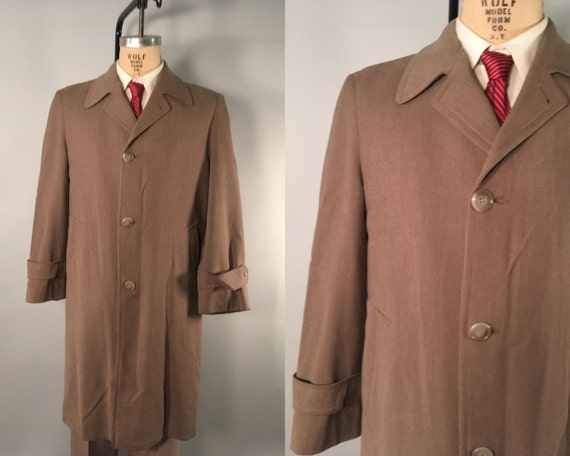"1940s 1950s Men's Taupe Overcoat | Vintage 40s 50s Beige Wool Topcoat Jacket with Original Zip-In Lining by ""Bond Clothes"" 