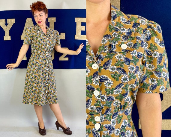 1930s Flowers and Fronds Frock | Vintage 30s Goldenrod White Green and Blue Cotton Button Up Puff Sleeve Dress | Large Extra Large XL