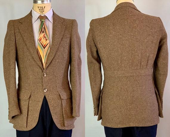 1930s Style Belted Back Jacket | Vintage 70s Does 30s Flecked Taupe Brown Tweed Wool Blazer Sport Coat w/Bi Swing Action Belt Back | Size 38