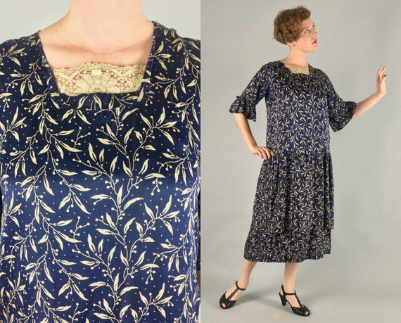 1920s Blue Silk Novelty Print Dress | Vintage 20s Navy Day-To-Evening Frock with Cream White Olive Branch Print | Medium
