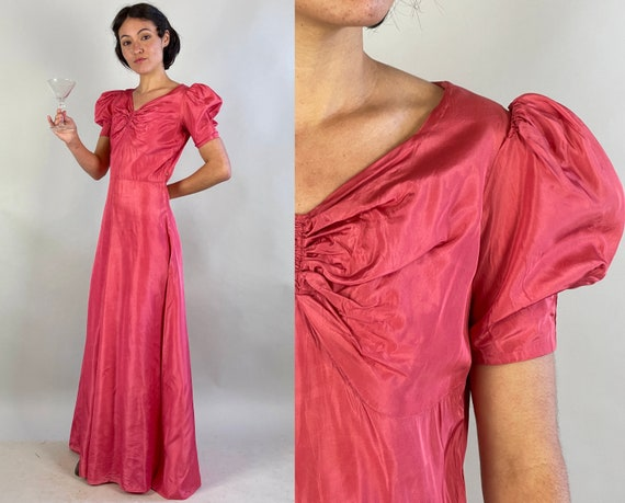 1930s Pink Perfection Gown | Vintage 30s Deco Salmon Rayon Taffeta Puff Sleeve Evening Dress with Ruching and Floor Sweep Hem | Small