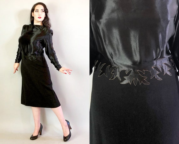 1930s Flame Dress | Vintage 30s Black Liquid Silk Satin & Wool Cocktail Evening Dress w/ Dark Flames Pattern and Puff Shoulders LBD | Large
