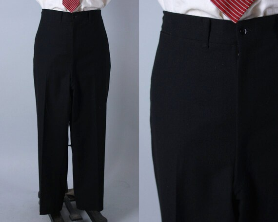 1940s Tuxedo Trousers | Vintage 40s Black Wool Flat Front High Waist Tux Pants Slacks With Dropped Belt Loops | 42x29.5 Extra Large XL