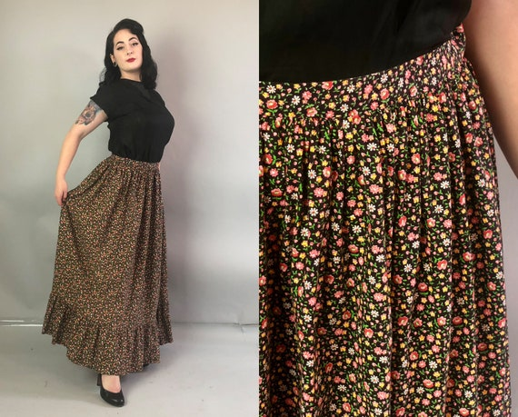 1950s Black Floral Skirt | Vintage 50s Cotton Gathered Hem Maxi-Length Skirt with Blush Rose Red and Bright Canary Yellow Flowers | Large