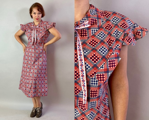 1930s Patriotic Picnic Dress | Vintage 30s Diamonds and Squares Red White and Blue Cotton Print Frock with Flutter Sleeves | Medium Large