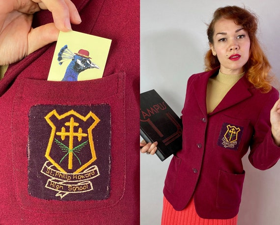 1930s English School Girl Blazer | Vintage 30s Brick Red Wool Collegiate Jacket with St Philip Howard Patch and Notch Lapel | Medium