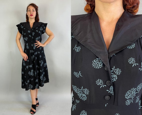 1940s Mad for Mums Dress | Vintage 40s Black Rayon Faux Shirtwaist Frock with Painted Teal Blue Floral Pattern and Cap Wing Sleeves | Medium