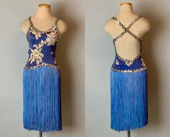 1950s Showgirl Costume | Vintage 50s Blue Fringe Sequined, Jeweled & Appliquéd Novelty Rockette Dancer Cigarette Girl Dress | XS Extra Small