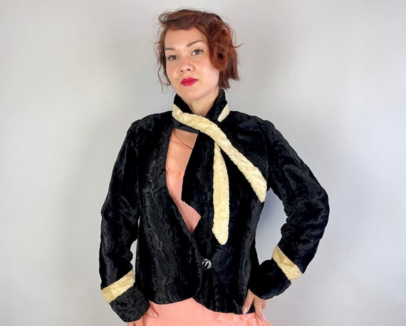 1920s Velvet Vamp Jacket | Vintage 20s Black and White Plush Faux Fur Swing Coat with Feed Through Scarf Collar & Deco Button | Small Medium
