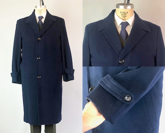 Vintage 1950s Mens Overcoat | 50s Mid Century Midnight Blue Wool Single Breasted Coat with Reverse Peaked Lapel & Single Vent | Medium/Large