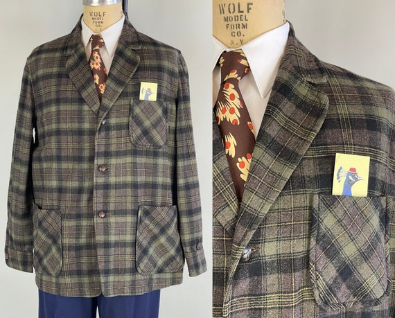 """1950s Woodsman Wally Camp Jacket   Vintage 50s Wool Plaid """"Pendleton"""" Mens 49er Forty Niner Grey and Gold with Leather Knot Buttons   Large"""